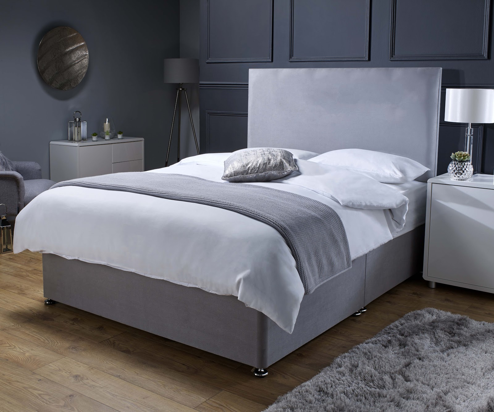 Grey Suede Divan Bed UK