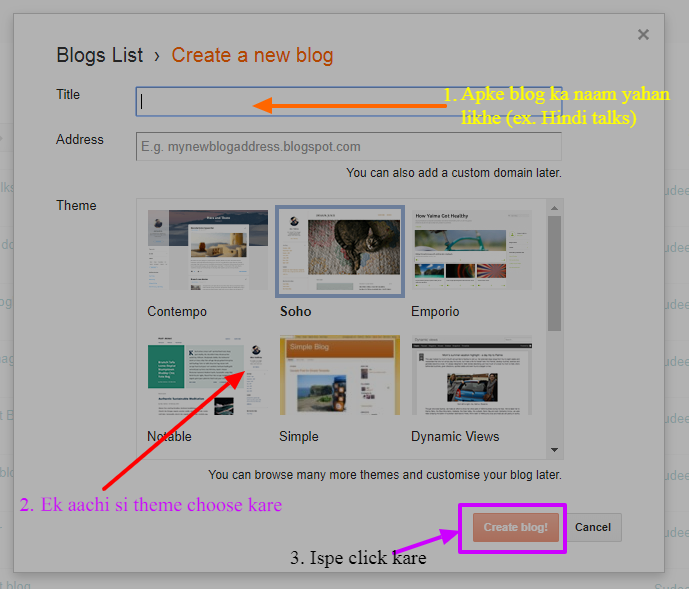 Create a Blog on Blogger in Hindi