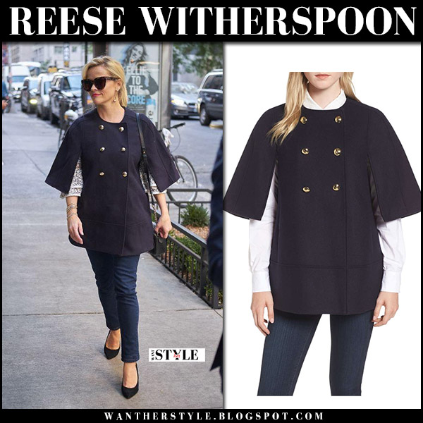 Reese Witherspoon in navy blue cape jacket, blue pants with black pearl bag gucci marmont street fashion october 3 2017