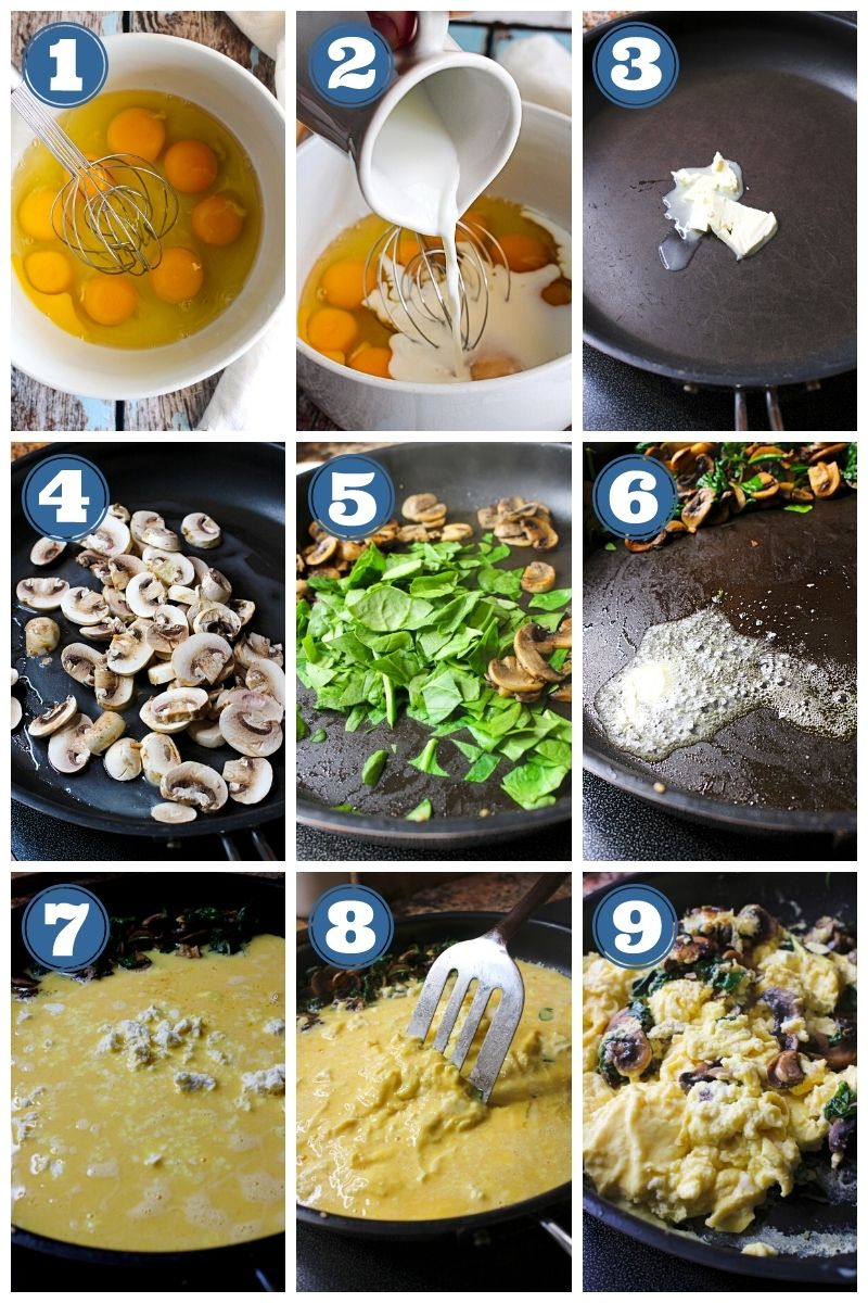 A collage of step-by-step photos showing how to make mushroom feta scrambled eggs.
