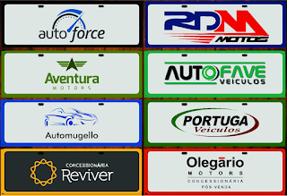 placas pvc para carros e veiculos