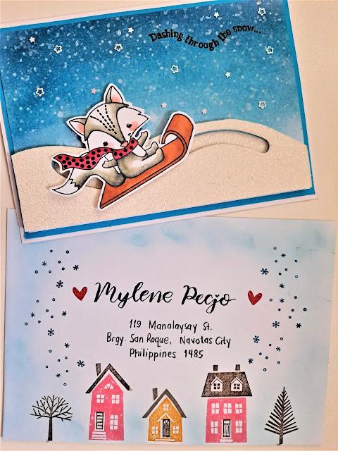 Winter snow mail art handmade card