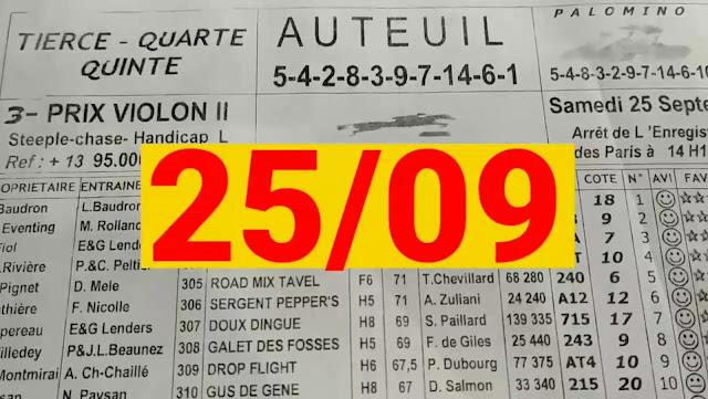 programme quinté+ Pronostic quinté samedi 25/09/2021