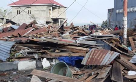Kondisi bangunan yang rusak akibat gempa di Palu.