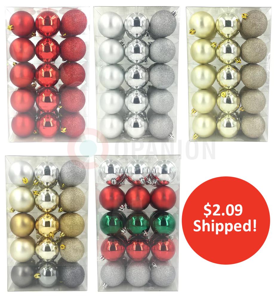 kohls offers st nicholas square shatterproof ball christmas ornaments 30 piece set for 299 reg 2999 kohls card holder also get an extra 30 off