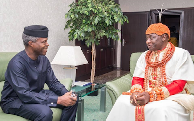 Photos: Acting president, Yemi Osinbajo, receives the Olu of Warri at the state house Abuja