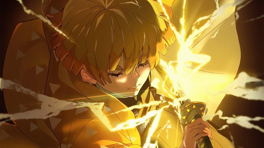 Zenitsu, Katana, Lightning, Kimetsu no Yaiba, 4K, #3.1412