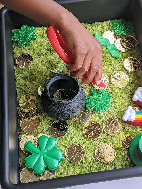 green sensory bin for St. Patrick's Day