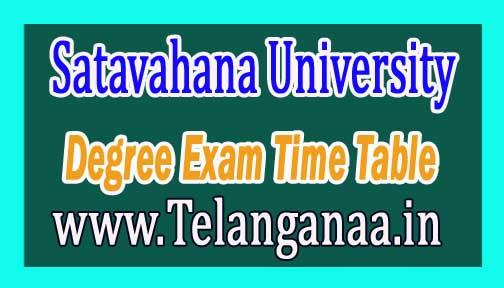 Satavahana University SU Degree 1st year 1st Semester Exam Time Table 2016