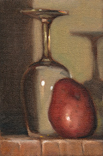 Oil painting of an upside-down ISO tasting glass beside a Désirée potato.