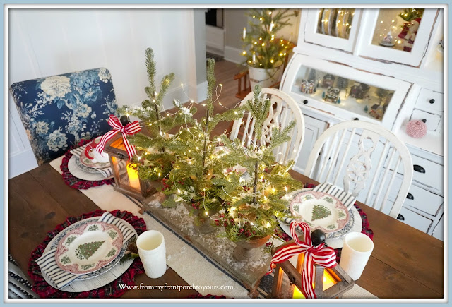 Cottage -Farmhouse -Christmas- Dining -Room -Tablescape-Christmas-Trees-Centerpiece--From My Front Porch To Yours