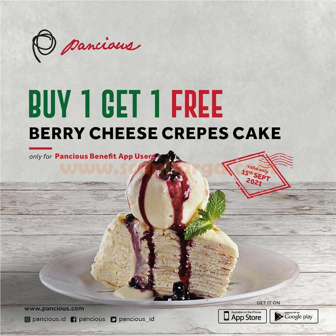 PANCIOUS Promo BELI 1 GRATIS 1 Berry Cheese Crepes Cake