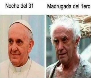 Papa Francisco vs persona parecía después del fin de año