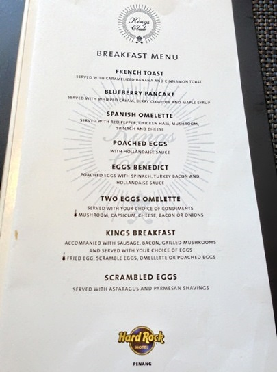 hard rock penang kings club breakfast menu