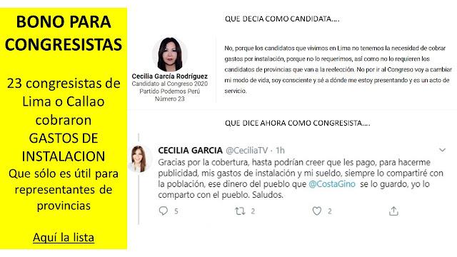 BONO PARA CONGRESISTAS  23 congresistas de Lima o Callao cobraron  GASTOS DE INSTALACION Que sólo es para representantes de provincias