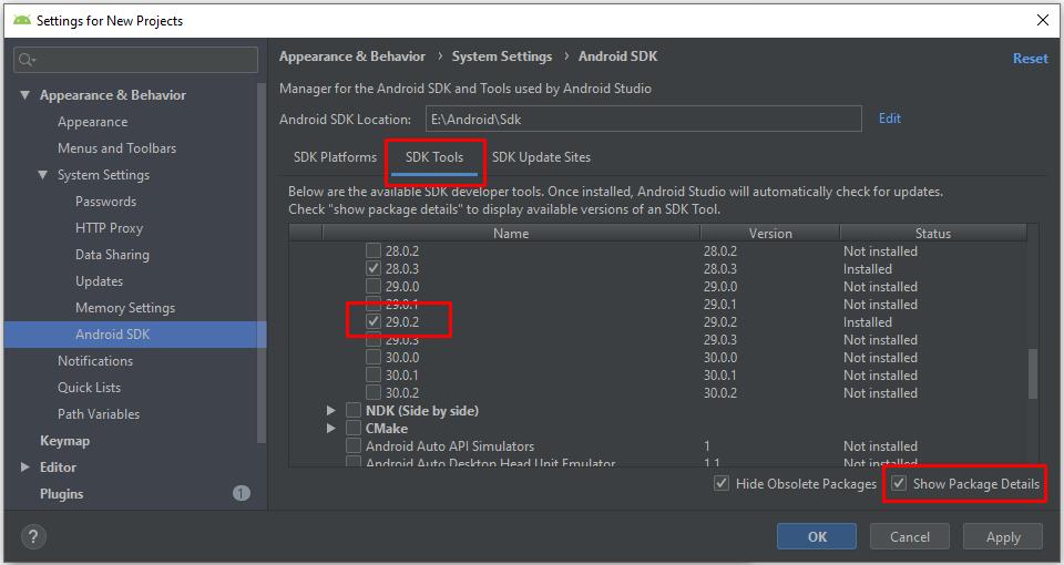 SDK Tools > Android SDK Build-Tools