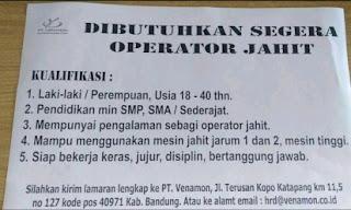 Lowongan Kerja PT Venamon Katapang Bandung 2020