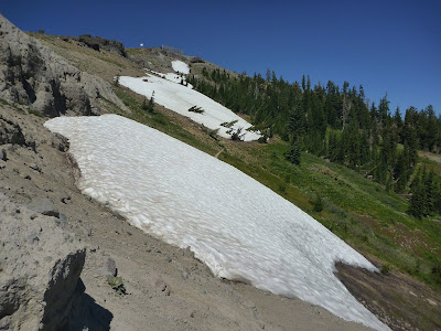 A snow-covered section of the PCT near Roller Pass