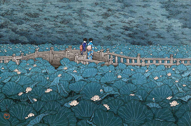 a Kawase Hasui art print, two women on a bridge