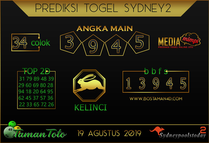 Prediksi Togel SYDNEY 2 TAMAN TOTO 19 AGUSTUS 2019