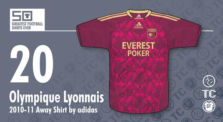 a99315b1a8 ... the 50 Best Football Kits. 20 | Adidas Olympique Lyonnais 2010-11 Away  Shirt. 19 | Le Coq Sportif Argentina 1986 Home ...