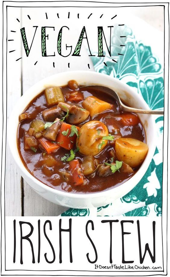 Perfect for St. Patrick's Day. Hearty vegetables in a rich, earthy, thick stout beer broth. It's a stick to your ribs kinda stew!