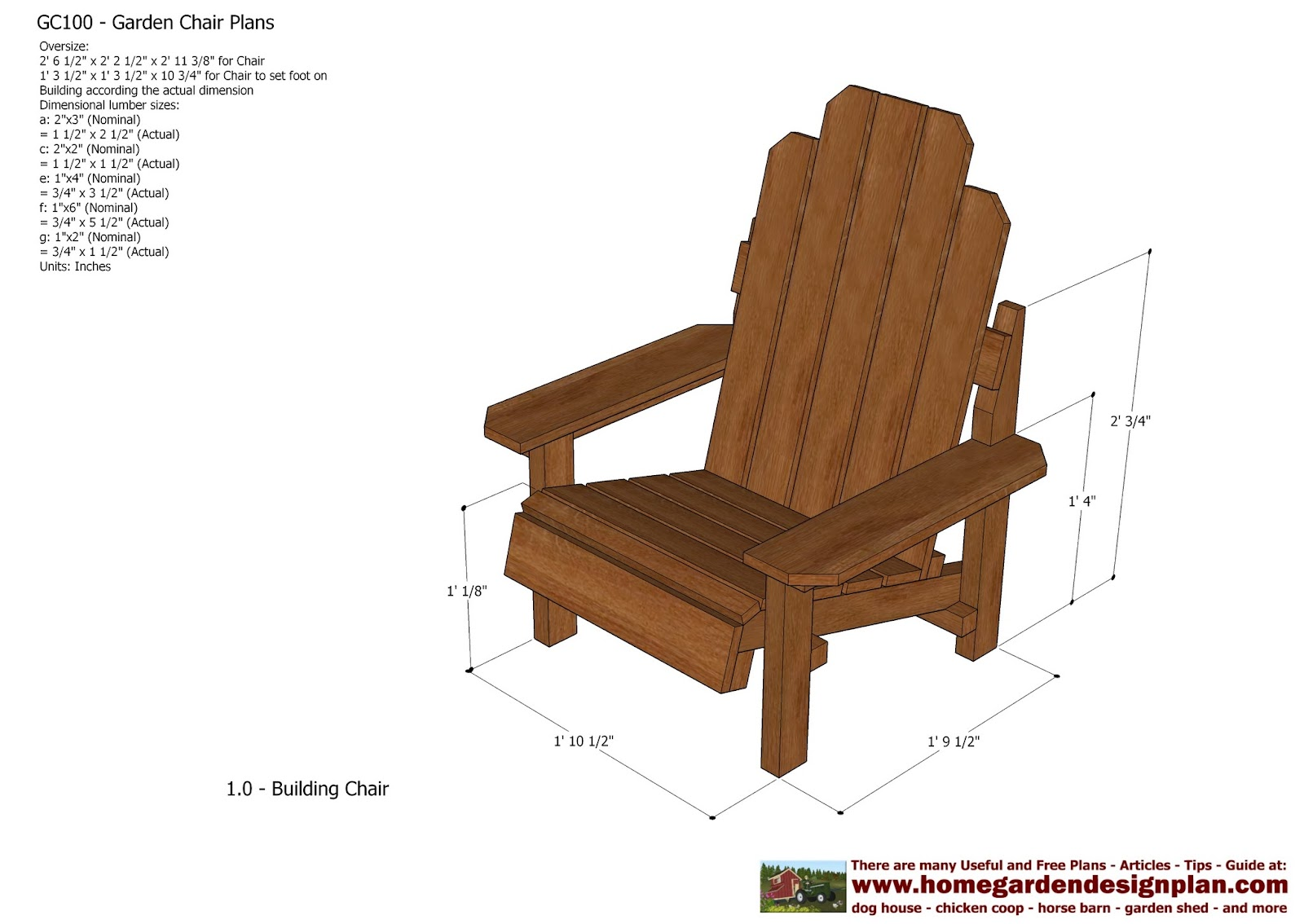 garden plans: GC100 - Garden Chair Plans - Out Door Furniture Plans ...