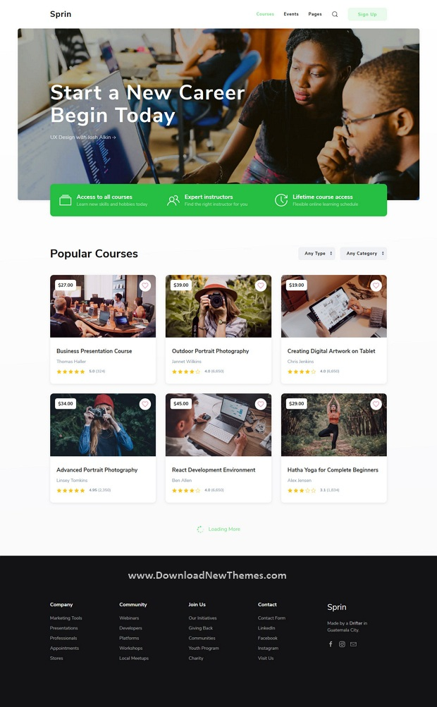 Courses and Events HTML5 Responsive Template