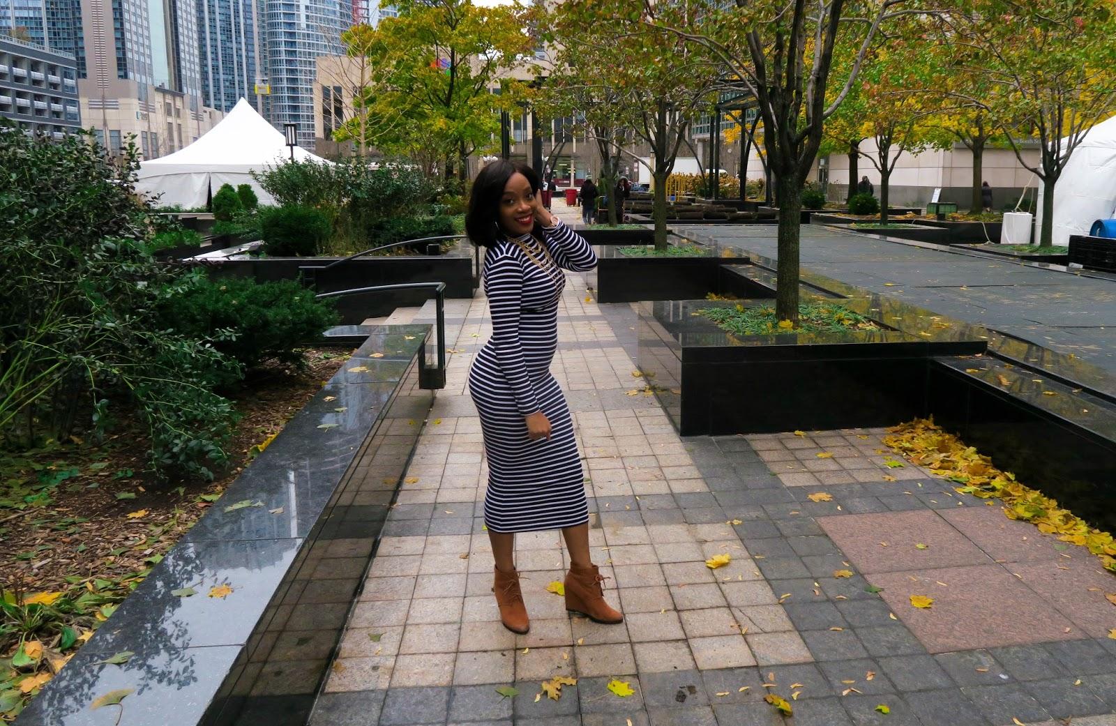 how to wear striped dress in winter