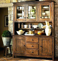 Wooden dining room hutch with vintage looks