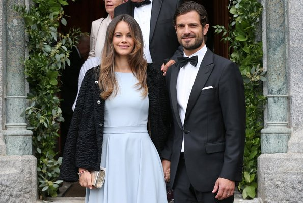 Princess Sofia wore Lorenzo maxi dress by Swedish fashion designer By Malina for wedding of Prince Konstantin and Deniz Kaya