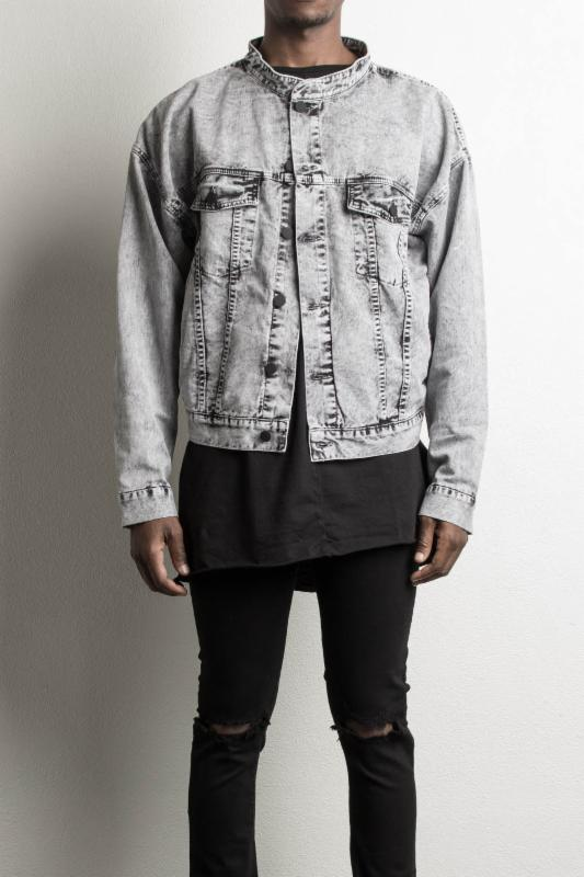 daniel patrick's oversized denim jacket in black acid