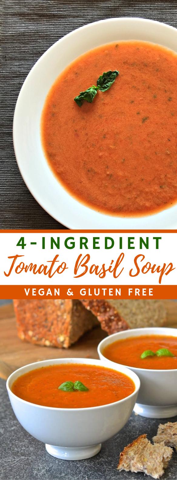 Easy Tomato Basil Soup #vegetarian #simplerecipe
