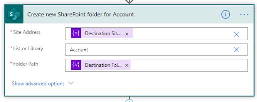 12. Create new SharePoint folder for Account