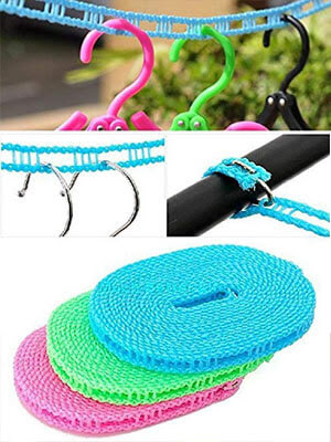 Clothesline Nylon Rope with Hooks for clothes