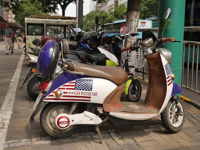 "motor scooter with ""Go With Me"" US flag design in Bengbu"
