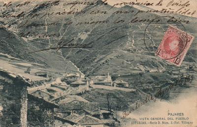 Postal del Pueblo de Pajares. Foto Villegas