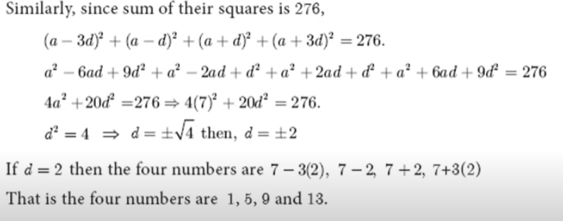 In an AP, the sum of four consecutive terms is 28 and the sum of their squares is 276. Find that four numbers.