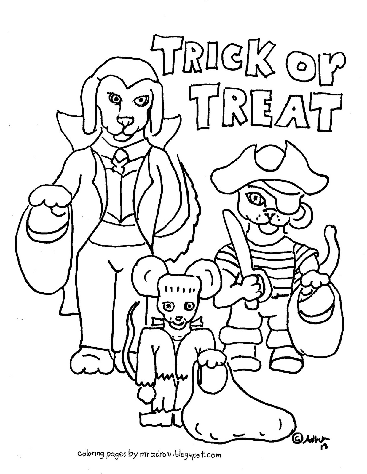 Coloring Pages for Kids by Mr. Adron: Free Trick or Treat Coloring Page