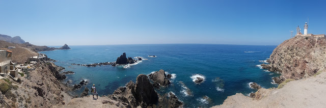 The amazing views and crystal clear water at the lighthouse of Cabo de Gata