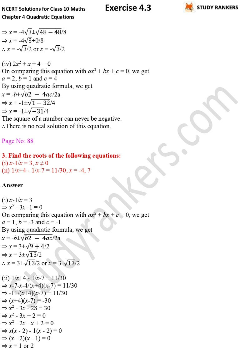 NCERT Solutions for Class 10 Maths Chapter 4 Quadratic Equations Exercise 4.3 Part 3