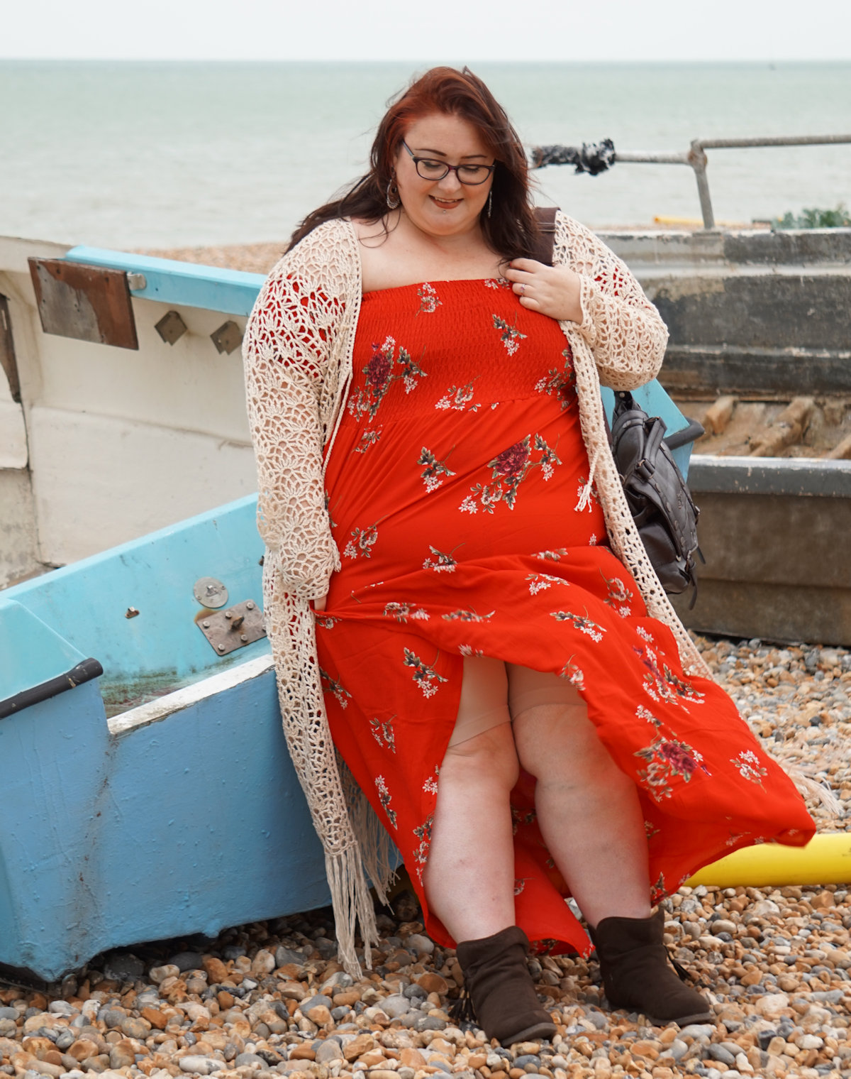 IN-THE-STYLE-CURVE-ALEXISS-RED-FLORAL-SHIRRING-BARDOT-MAXI-SPLIT-DRESS // WWW.XLOVELEAHX.CO.UK