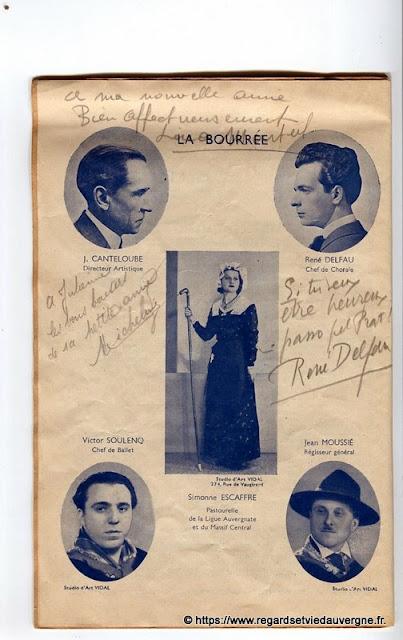 La Bourrée du Massif Central, programme 1938  J. Canteloube, R. Delfau, V. Soulenq, S. Escaffre, J. Moussié.