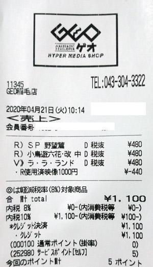 GEO ゲオ 稲毛店 2020/4/21 のレシート