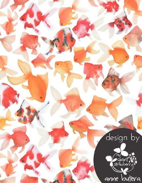 watercolor goldfish, goldfish fabric, goldfish pattern, repeat pattern, Spoonflower, Anne Butera, My Giant Strawberry