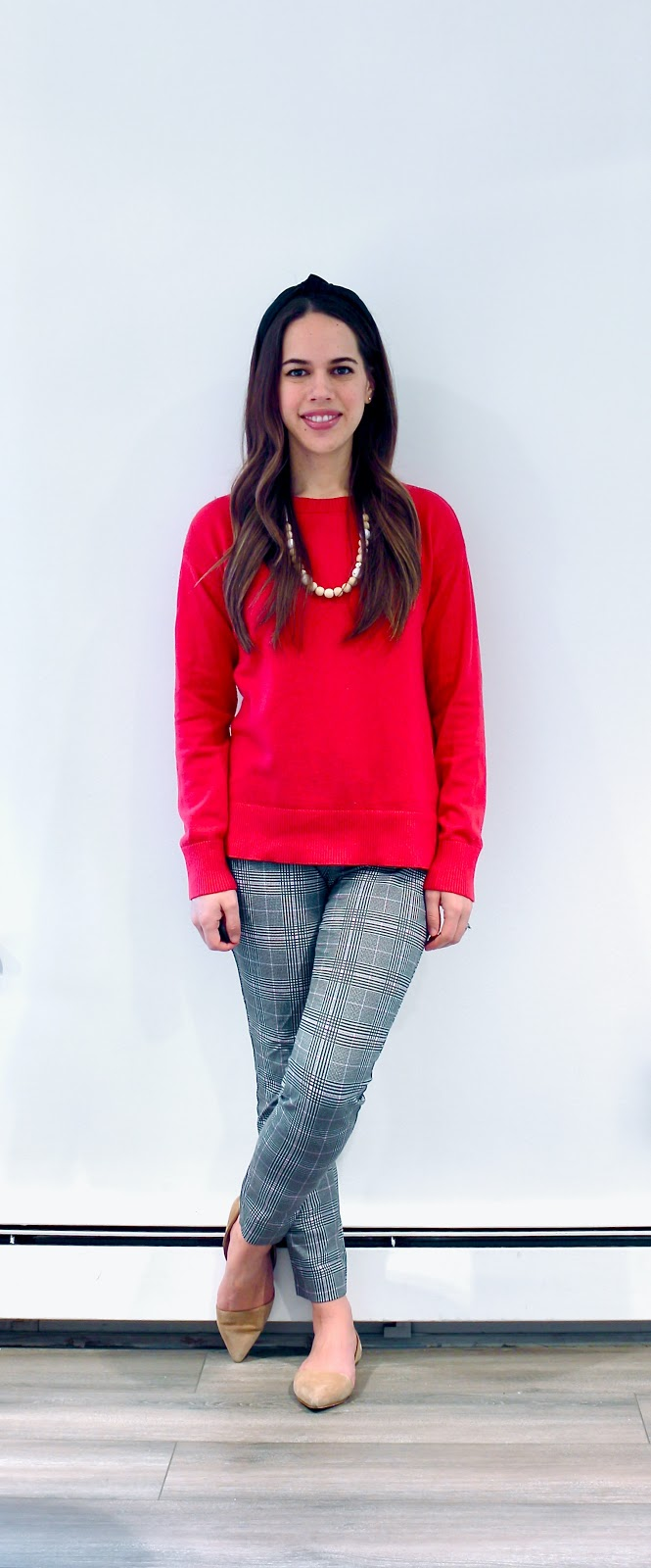 Jules in Flats - Red Sweater & Plaid Pants (Business Casual Winter Workwear on a Budget)