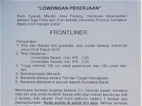 Bank Syariah Mandiri KC Padang - Frontliner Terakhir 07 Juli 2019