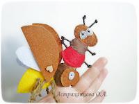 пальчиковый театр Бианки  как муравьишка домой спешил, муравей, майский жук, фетр