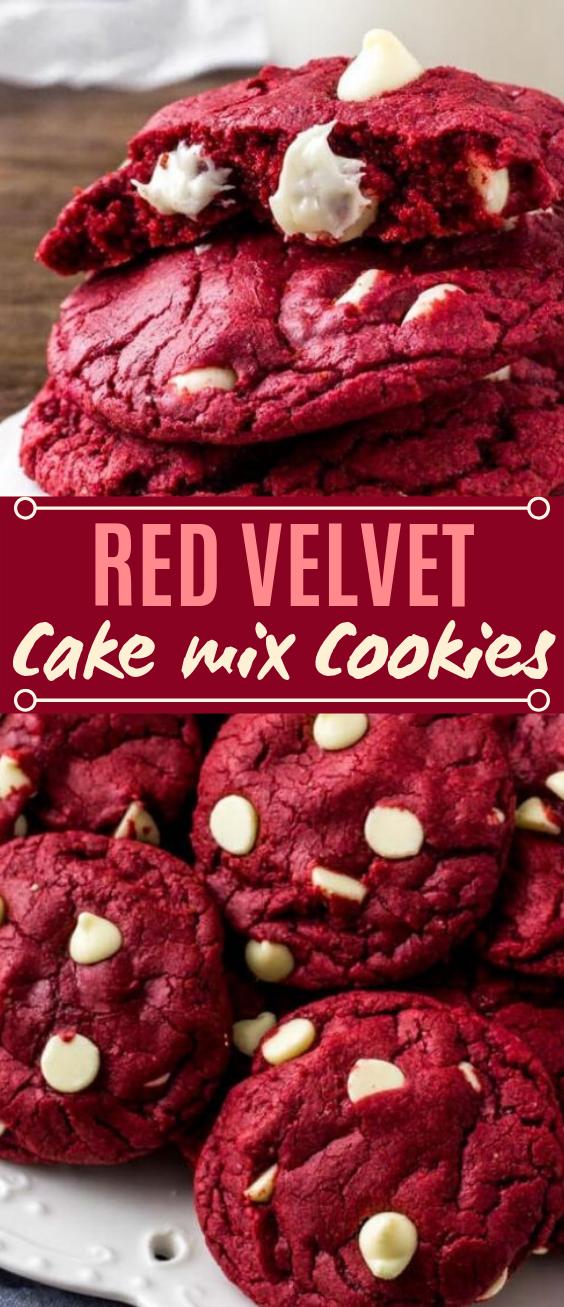 Red Velvet Cake Mix Cookies #desserts #cookies