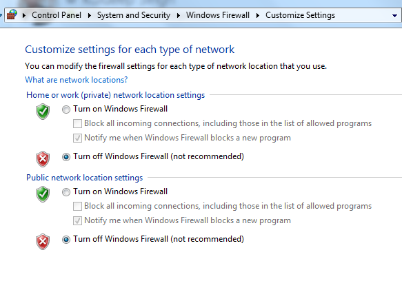 Turn windows firewall on/off